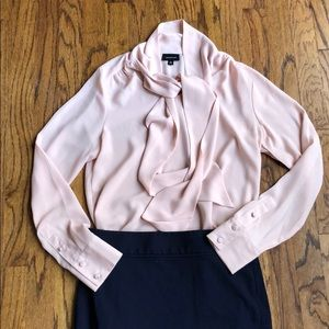 Who What Wear Tie Neck Blush Blouse